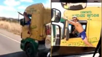 Motorista é preso após ser flagrado dirigindo carreta com corpo para fora